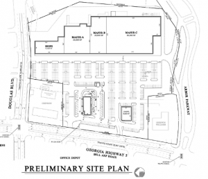 The Site plans for the new Arbor Square. complete with Outparcel and new Fast Food spot.