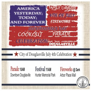 The Main Street Flyer for this years Independence Day Celebration in Douglasville.