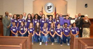 The CHHS AAAAA State Championship Softball Team and Coaches with the Douglas County Board of Commissioners and County Administrator