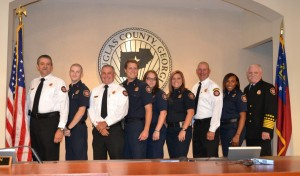 Left to Right:  Division Chief Vick Welch, Firefighter/EMT Kyle Carnley, Division Chief Britt Worthan, Firefighter/EMT David Smith, Firefighter/EMT Jennifer Rogers, Firefighter/EMT Kaitlyn Massey, Division Chief Mark Walker, Firefighter/EMT Asha Joseph, Fire Chief Scott Spencer