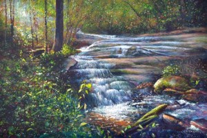 This Ann Cockerill painting is from the Cockerill backyard, and the waterfall once powered Mitchell's Mill before it was burned at the end of the Civil War.