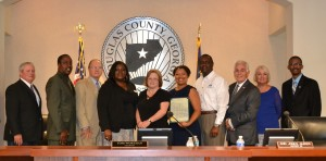 Laquetta Peters, Co-President of the Douglas County PTA Council; Debra Lane, Co-President of the Douglas County PTA Council; Tynettia Elrod, Legislative Chair of Georgia PTA; and Tyler Barr, President-Elect of Georgia PTA join the Douglas County Board of Commissioners for the Proclamation on September 6th.